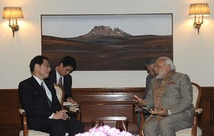 The Minister of Foreign Affairs of Japan, Mr. Fumio Kishida calling on the Prime Minister, Shri Narendra Modi, in New Delhi on January 16, 2015.